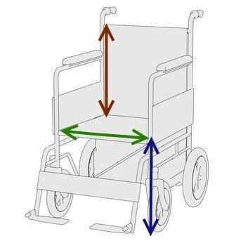 Rollstuhl-Sitzhöhe -Sitzbreite-Rückenhöhe